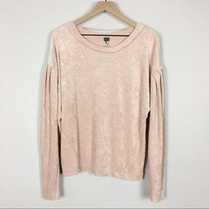 Free People Milan Crushed Velvet Pink Pullover